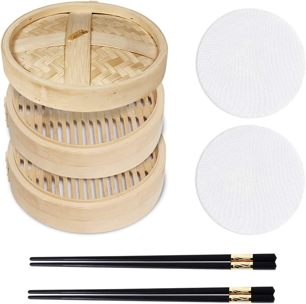 Kitchen Bamboo Steamer, 10.2 Inch Bamboo Basket Steamer For Kitchen, 2 Tier Baskets Food Steamer With 2 Steamer Liners & 1 Cover & 2 Chopsticks, Kitchen Steamers For Dumplings Dim Sum Fish Meat