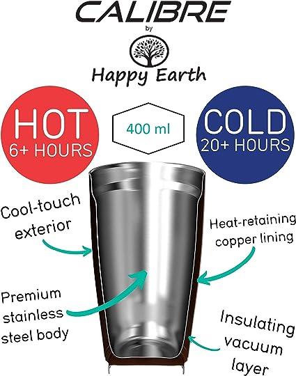 SUNSHINE 400 ml, tazza da viaggio in acciaio inossidabile di alta qualit/à a doppia parete, isolato sotto vuoto, coperchio a prova di fuoriuscita, senza BPA di Happy Earth Calibre