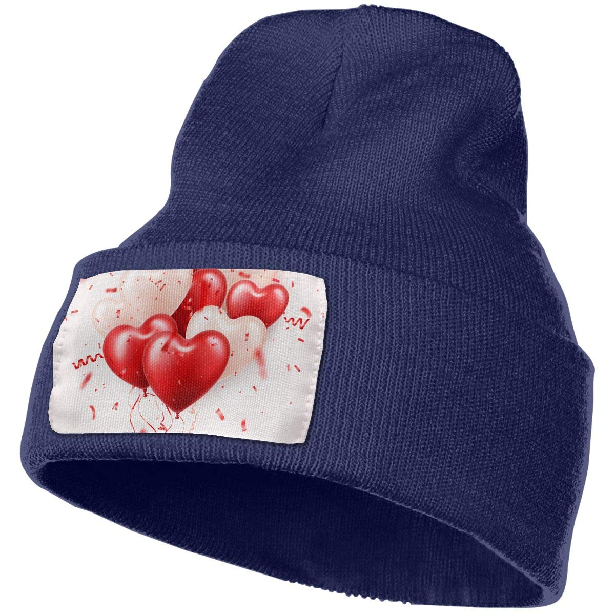 Red 3D Balloons and Confetti Unisex Fashion Knitted Hat Luxury Hip-Hop Cap