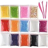Kuuqa Micro Polystyrene Styrofoam Perle Piccole sfere di schiuma Slime Beads Set con 3 Slime Strumenti adatti per Slime Fare Arte Artigianato DIY, 0,08-0,15 Pollici Circa 50000 Palle in totale