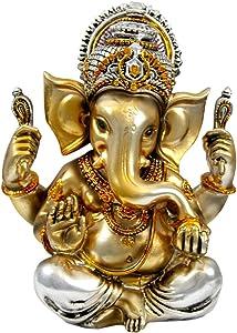 "Krishna Culture Polished Bronze Color Ganesh 5.5"" Statue Hindu God Ganapati Gajananda Idol Golu Doll"