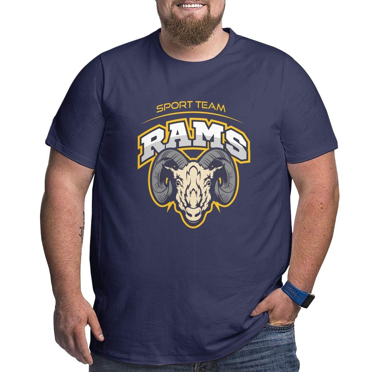 LONGTENG Customized Rams Head Big Size T-Shirt O-Neck 100/% Soft Cotton for Men Black