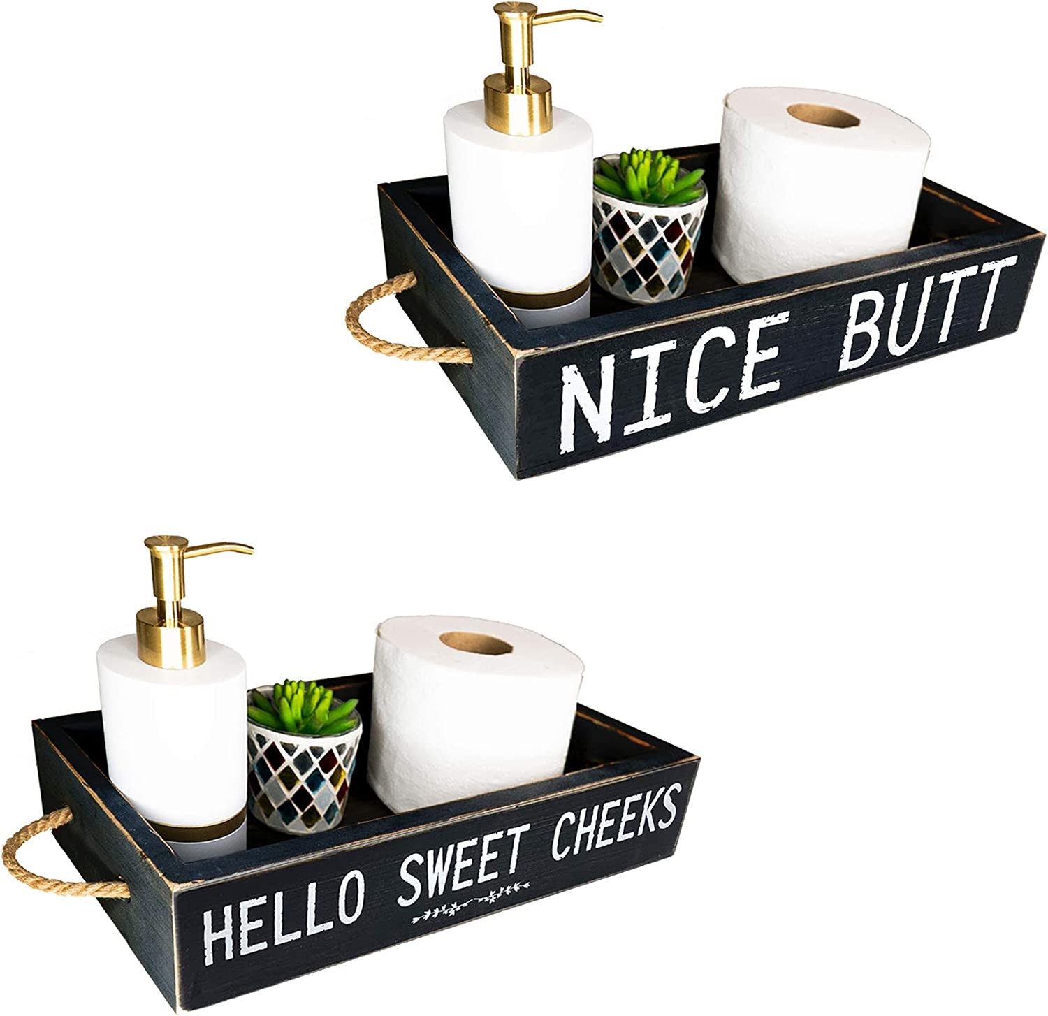 Nice Butt Bathroom Decor Box, 2 Sides with Funny Sayings -Perfect for Farmhouse Bathroom Decor, Rustic Bathroom Decor, Funny Toilet Paper Holder -Toilet Paper Storage, Bathroom Signs (Black)