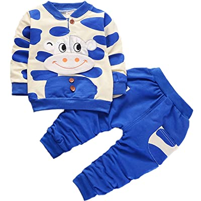2 Pcs Baby Kids Boys Spring Autumn Long Sleeve Round Neck Cattle Button Pullover T-shirt With Pocket Pants Outfits Set