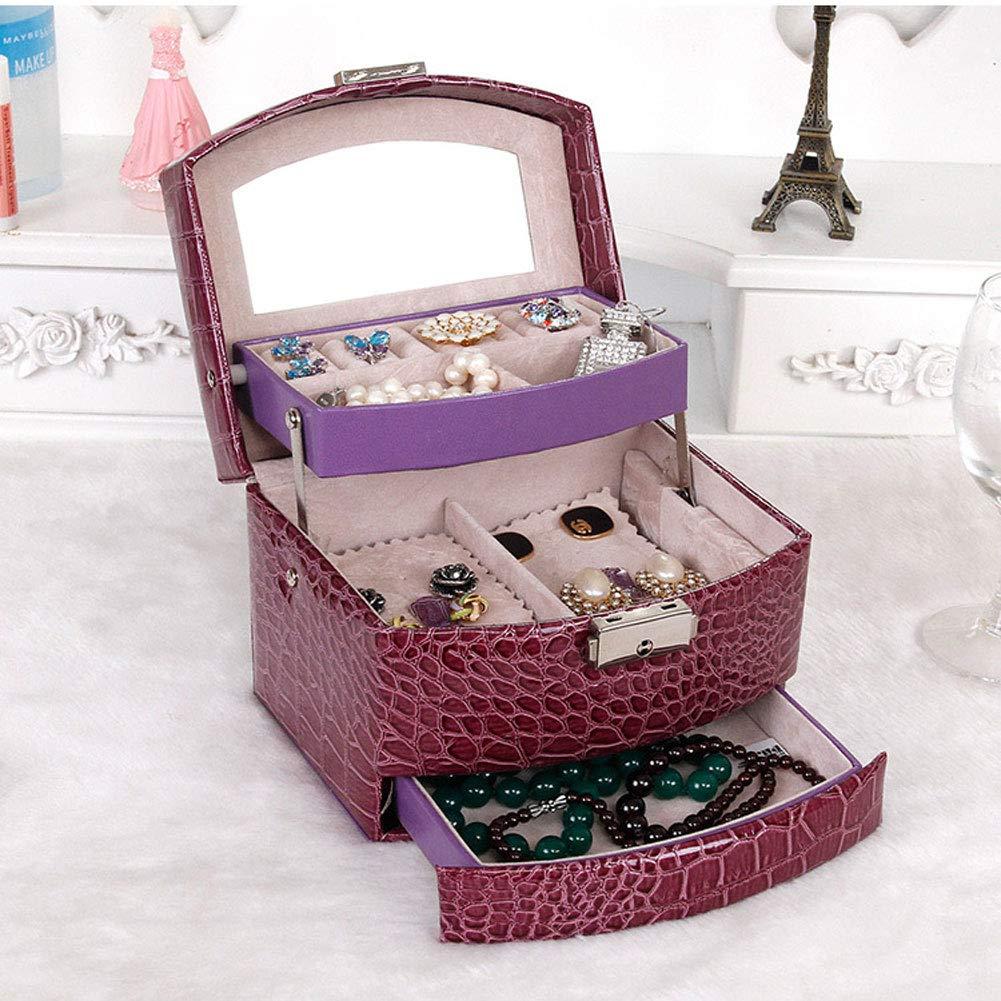 Hbwz Caja de Almacenamiento de Joyas Caja de joyer/ía de Cuero sint/ético Espejo Incorporado Bloqueable Tama/ño Compacto Maquillaje y Accesorios Almacenamiento,Black
