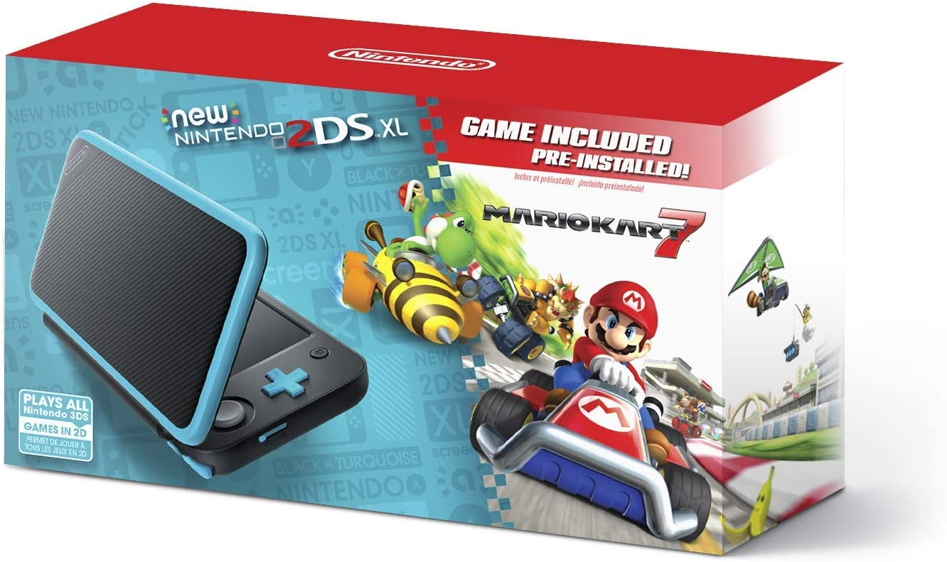 New Nintendo 2DS XL – Black Turquoise With Mario Kart 7 Pre-installed – Nintendo 2DS Renewed