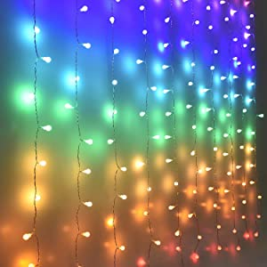 Fairy Lights Led Curtain Lights Color Globe String Lights for Bedroom Wall Boho Dorm Rainbow Unicorn Room Decor for Teen Girls Kids Wedding Birthday Christmas Party Decorations Icicle Twinkle