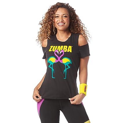6f3f9681ae36b1 Amazon.com   Zumba Women s Cold Shoulder Workout Fashion Print ...