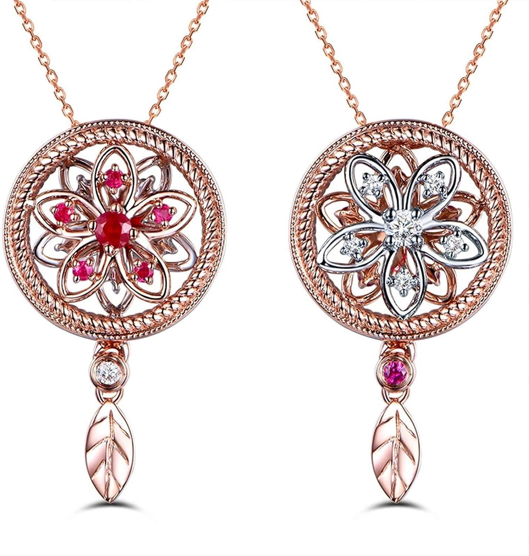 AnazoZ Collares Mujer Boda Oro Rosa y Rosa Roja Colgantes Mujer Oro 18K Blanco Collar Flor Rubí Rojo 0.11ct Diamante Blanco 0.07ct