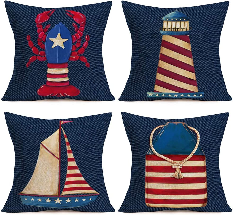 Fukeen Ocean Sea Pillow Covers Navy Blue Red The Stars and Stripes Flag 18x18 Inch Throw Pillow Cover Lobster Sailboat Lighthouse Nautical Pillow Cases Cotton Linen Home Living Room Decor Pillows