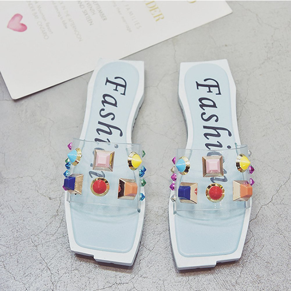 T-JULY Womens Ladies Fashion Bohemia Rivets Studded Colorful Flat Sandals Platform Square Toe Slip on Dressy Slides