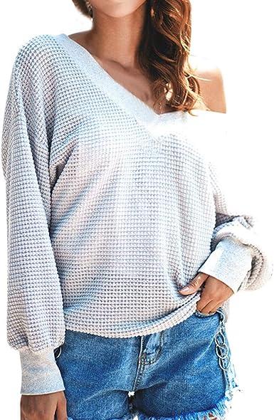 Qingsiy Camisas MujerVerano Blusa Suelta De Mujer Manga Larga Tops Casuales Camisa del V-Cuello Camiseta Pullover Camiseta Basico Casual para Cóctel (Gris, M): Amazon.es: Ropa y accesorios