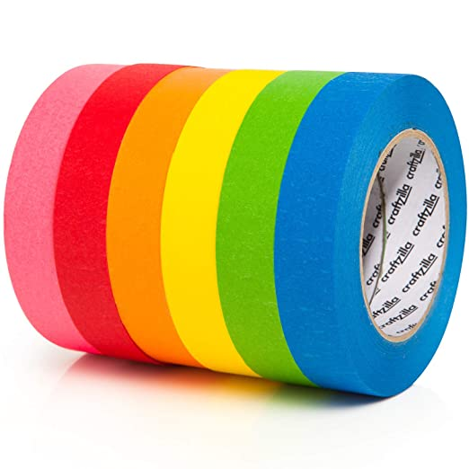 DIY Kids Office 1 Inch x 15 Yards Labeling Home Painters Color Code Perfect for Art TradeGear Colored Masking Tape 7 Pk - Rainbow Color General Purpose Craft Paper Tape Classrooms 45 Ft