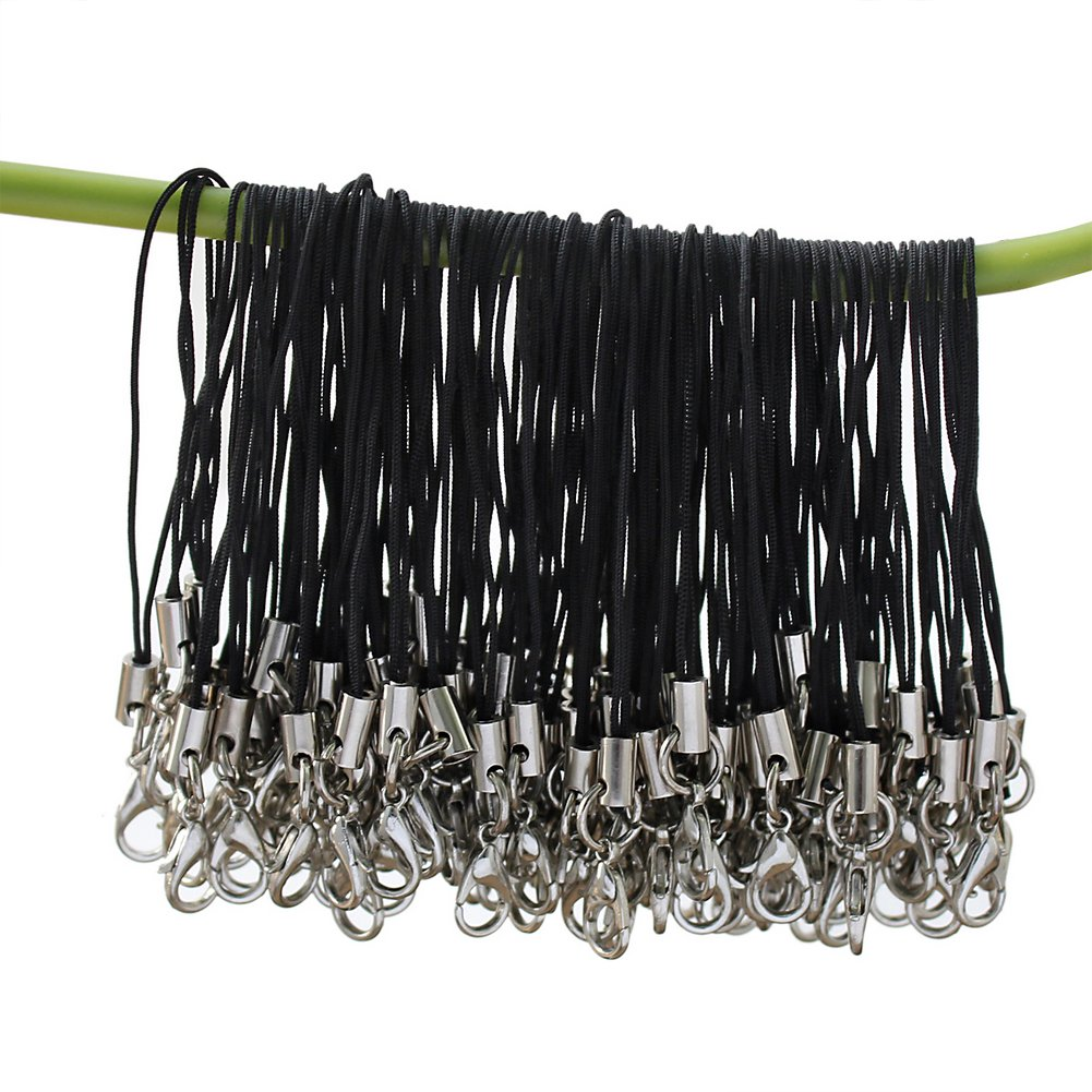 100 Pcs Black Cell Phone Lanyard Cords Strap Lariat Lanyard Mobile Lobster Clasp