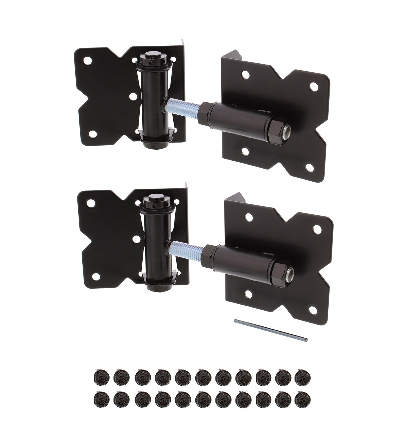 7Penn Self-Closing Black Gate Hinge 2-Pack with Installation Screws and Swing Adjuster Tool – Outdoor Vinyl/Wood Fence