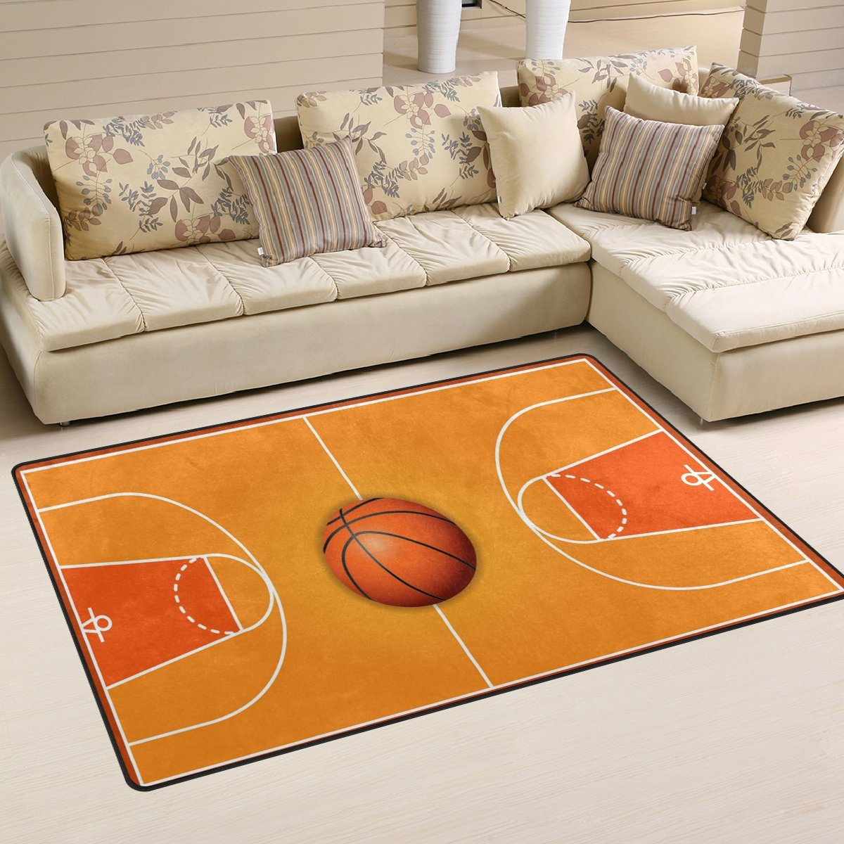 WOZO Basketball Wooden Court Area Rug Rugs Non-Slip Floor Mat Doormats Living Room Bedroom 31 x 20 inches g2106597p146c161s240