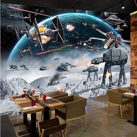 Foreverfl Fondo De Pantalla 3d Fondo De Pantalla De Dibujos Animados Star Wars Mural Sala De Ninos Cafe Ktv Volver Etiqueta Amazon Es Hogar