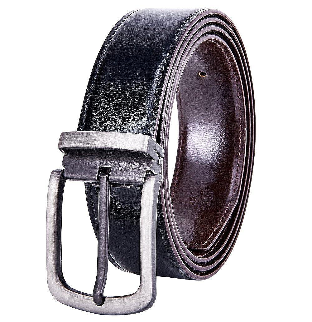 YoMeiJun Hombre Cinturón de Cuero Reversible de Ancho 35mm