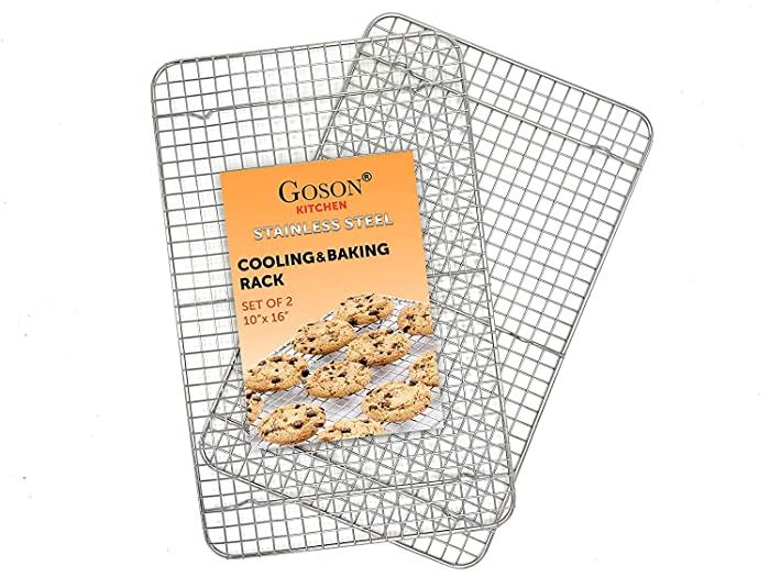 Goson Heavy Duty Stainless Stain Bakeware, Baking, Cooling, Oven Roasting, Broiler Rack, 10 inches x 16 inches, Cross Wire Pack of 2, Compatible with Various Baking Sheets Oven Pans
