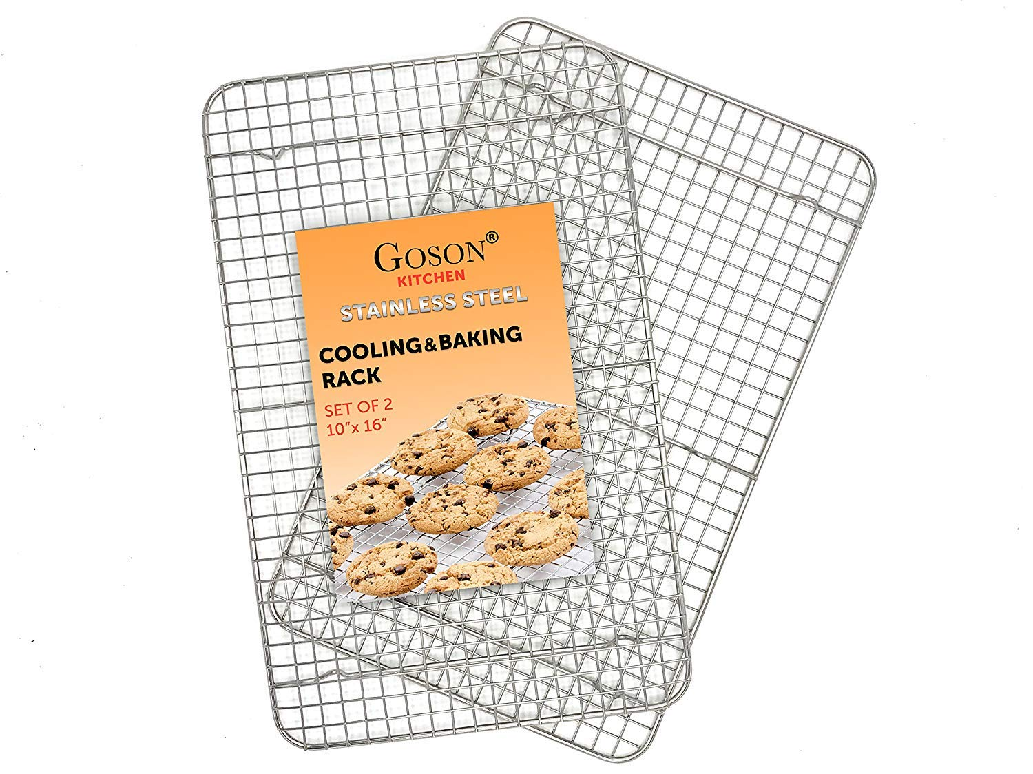 Goson Kitchen Stainless Steel Heavy Duty Metal Wire Cooling, Cooking, Baking Rack For Baking Sheet, Oven Safe up to 575F, Dishwasher Safe Rust Free | 10''x16''; SET OF 2