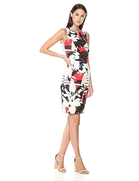 Calvin Klein Womens Printed Scuba Sheath Dress