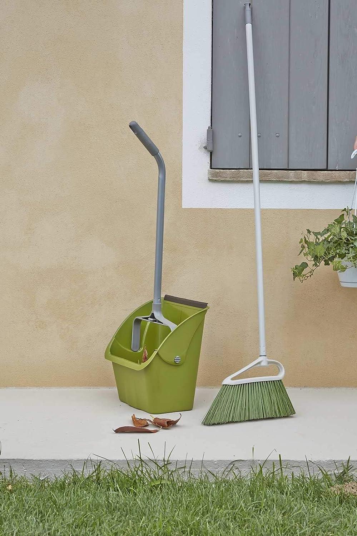 Jardin Couleurs du Manche : Gris Mat ; Couleurs des branchettes : Vert Mousse Maison en Plastique 34 x 5 x 20 cm Perfetto Balai pour ext/érieur