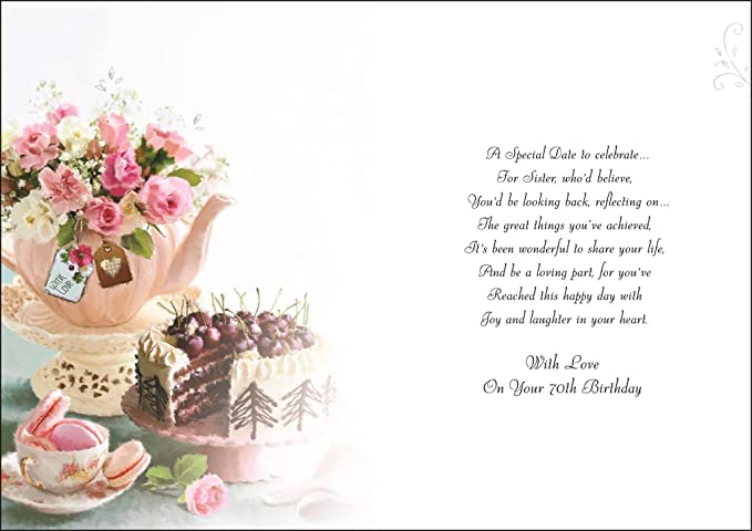 To a special sister happy 70th birthday card special words to a special sister happy 70th birthday card special words amazon office products bookmarktalkfo Image collections