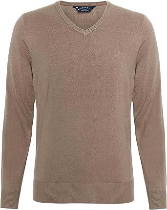 8966e3ebcf Affordable Fashion Renold Acrylic Cashmilon V-neck Jumper Taupe Xl (47):  Amazon.co.uk: Clothing