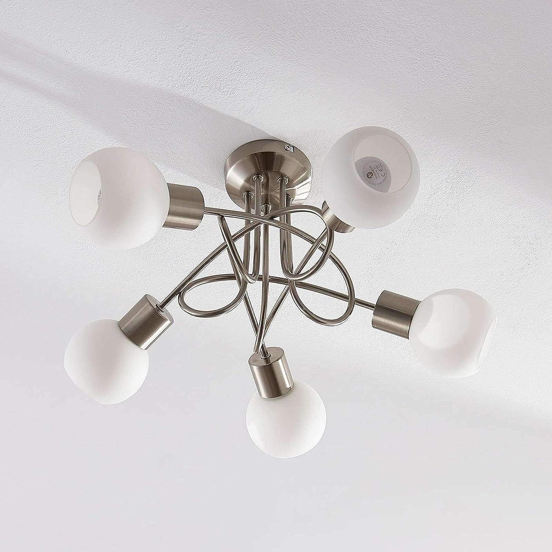 f/ür Wohnzimmer /& Esszimmer Deckenlampe 5 flammig, E14, A+, inkl. Leuchtmittel - Lampe LED-Deckenlampe in Alu aus Glas u.a Wohnzimmerlampe Modern Lampenwelt LED Deckenleuchte Elaina