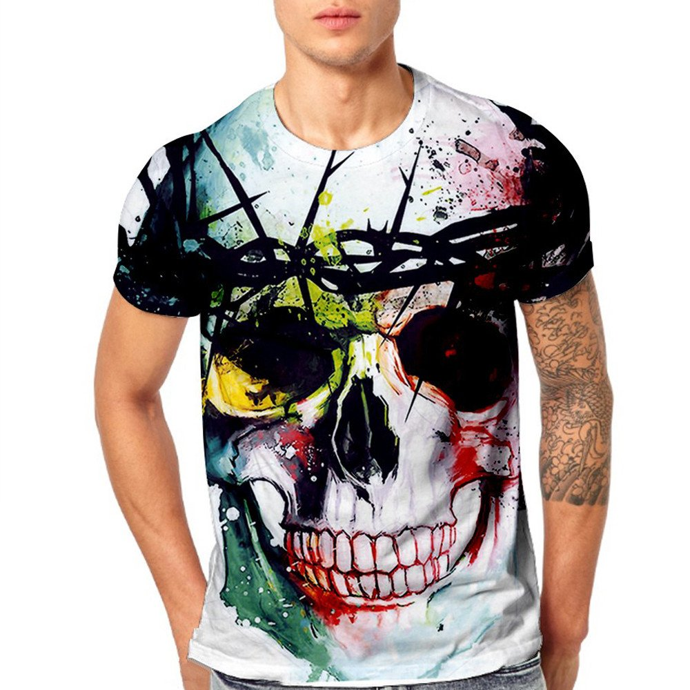 WEUIE Clearance Sale Mens Skull 3D Printing Tees Shirt Short Sleeve T-Shirt Blouse Tops