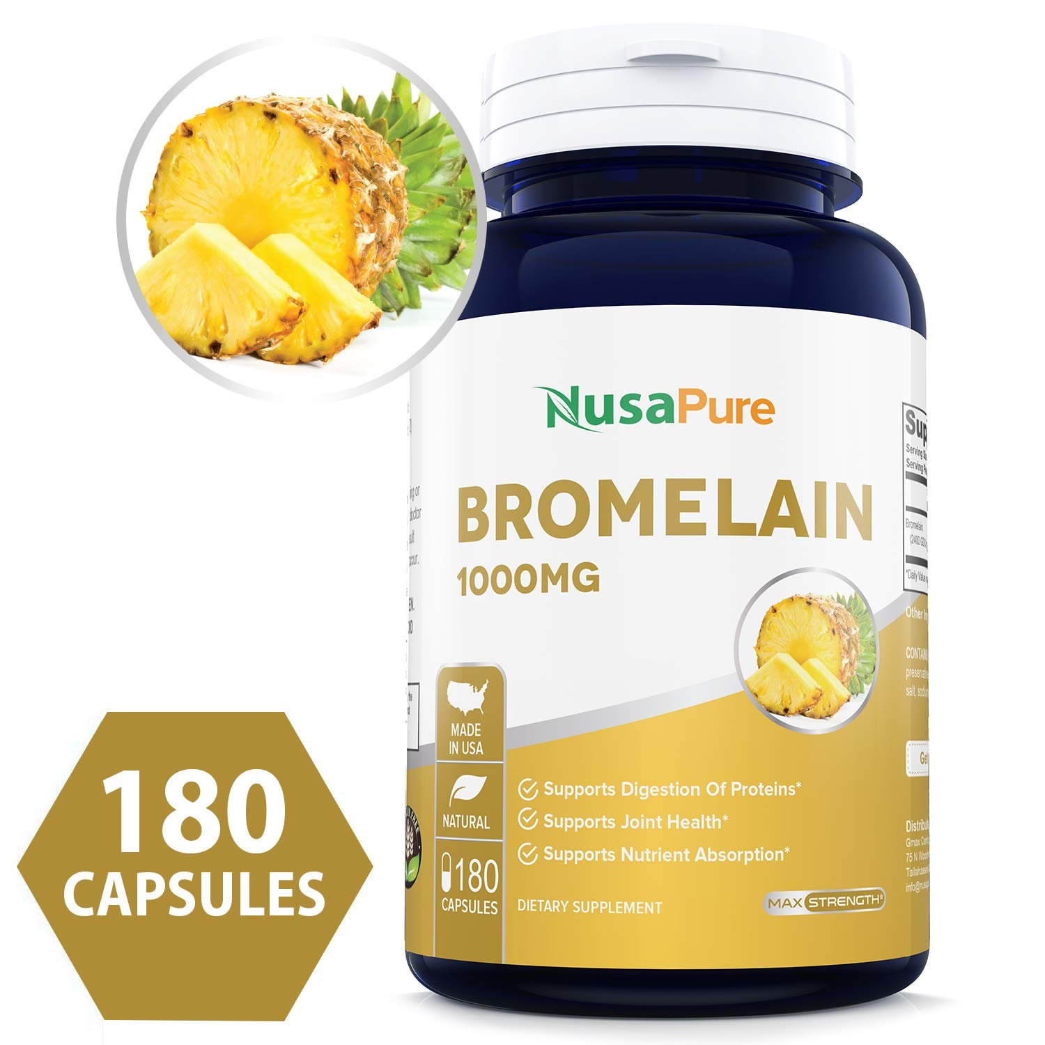 Bromelain 1000mg 180 caps (Non-GMO & Gluten Free) Supports Healthy Digestion, Anti- Inflammatory Support