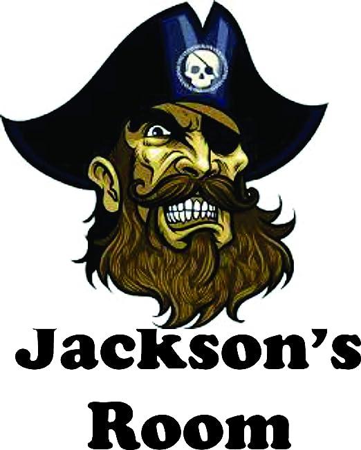 Personalised Pirate Door Name Art Stickers Kids Boys Girls Bedroom Sign Fun