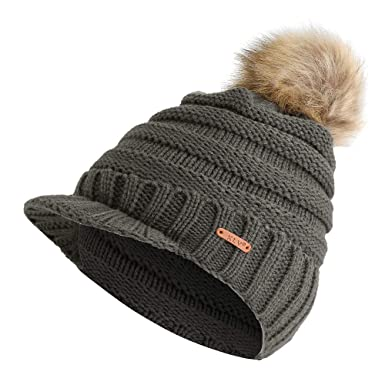 Damen Bommel Strickmütze Skimütze Fellbommel Hut Damenmütze Beanie Mütze Wolle