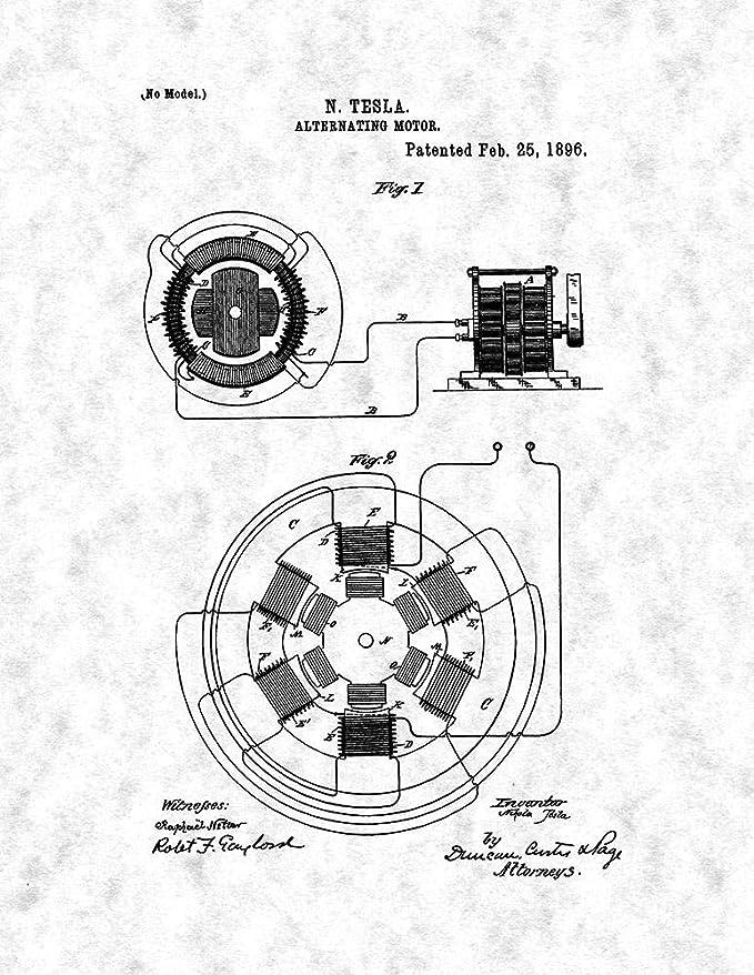 Amazon Com Tesla Alternating Motor Patent Print Gunmetal 8 5 X 11