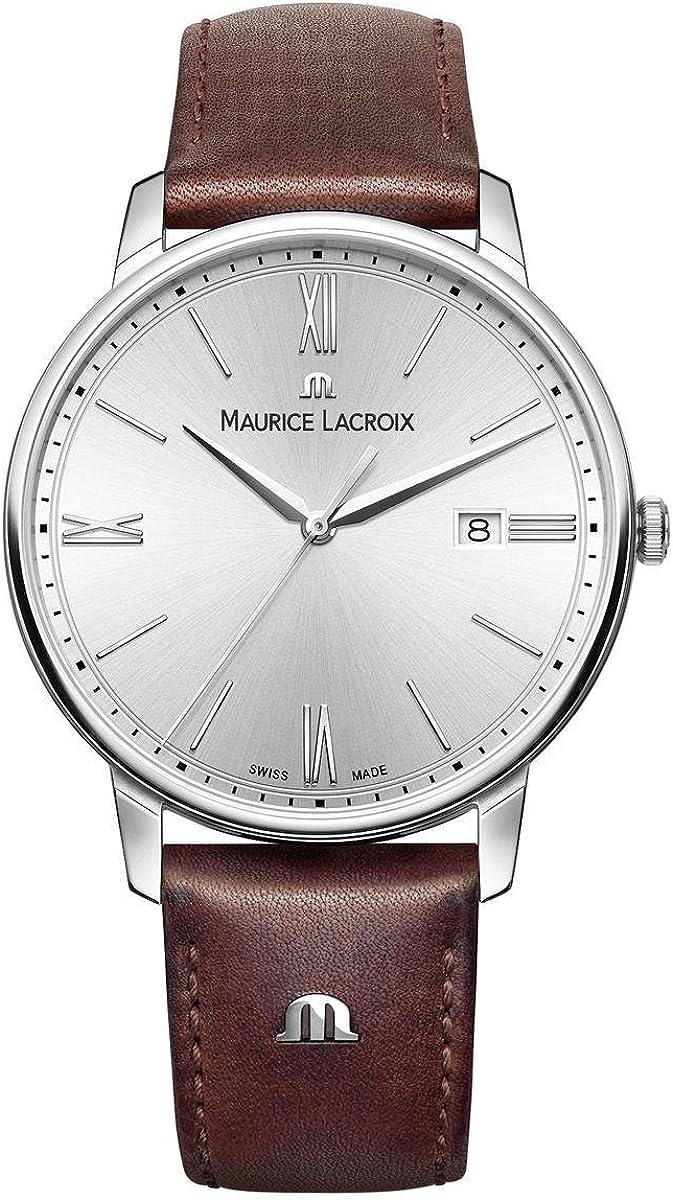 Maurice Lacroix Reloj Analógico para Hombre de Cuarzo con Correa en Cuero EL1118-SS001-110-1