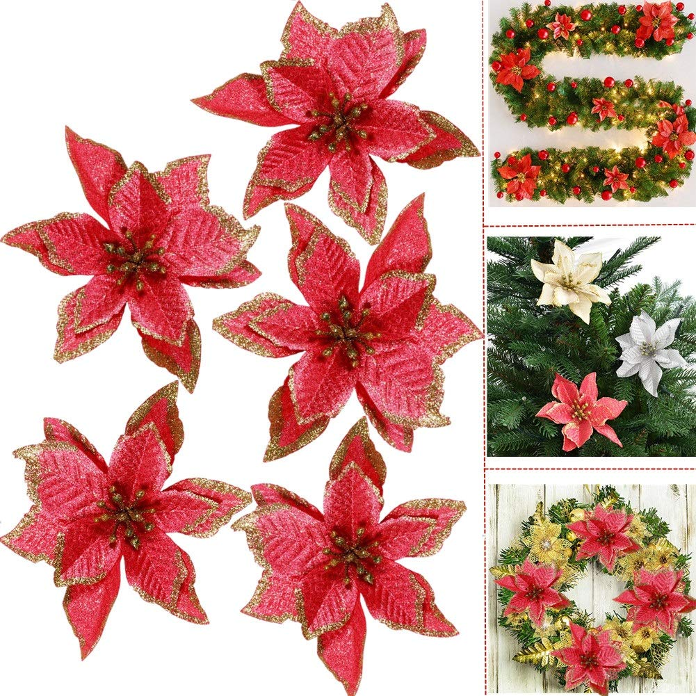 Buy Glitter Poinsettia Christmas Tree Flowers Ornaments 5pcs 5 Christmas Tree Wreaths Garland Holiday Seasonal Birthday Festival Decorations Happy Year Home Decor Red Online At Low Prices In India Amazon In