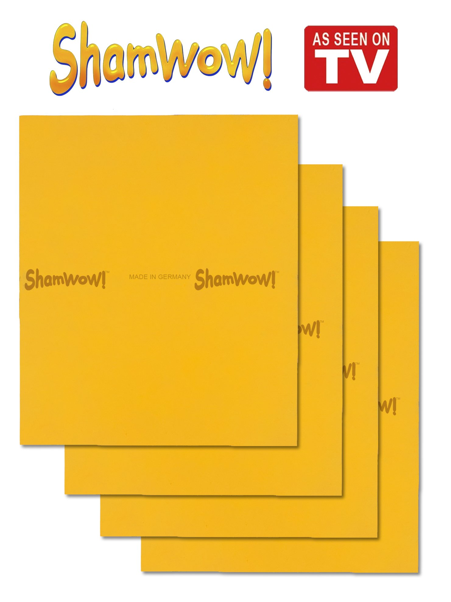 The Original Shamwow - Super Absorbent Multi-purpose Cleaning Shammy (Chamois) Towel Cloth, Machine Washable, Will Not Scratch, Orange (4 Pack)