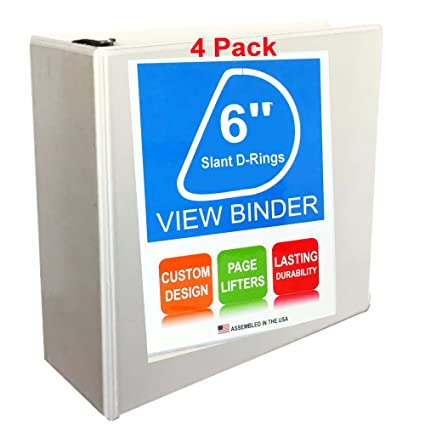 3 Ring View Binder, 6 Inch, White, 4 Pack By Ring Binder Depot