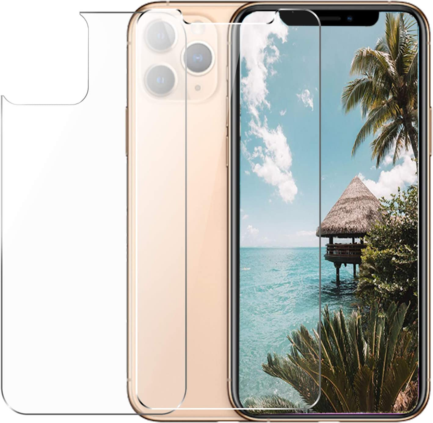 Conleke Front Back Screen Protector for iPhone 11 Pro, Rear Tempered Glass [3D Touch] Temper Glass Film Anti-Fingerprint/Scratch for iPhone11 Pro(Front&Back,5.8inch,2019)