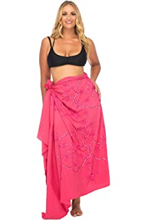a26256c585526 Back From Bali Womens Plus Size Sarong Swimsuit Cover up Embroidered Beach  Wear Bikini Wrap Skirt