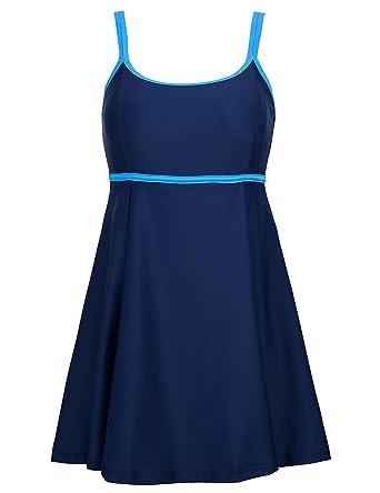 d0e0656df1 Septangle Swimwear Brief Plu Size Solid Bathing Suit One Piece Beachwear Cover  Up Swimdress Navy(