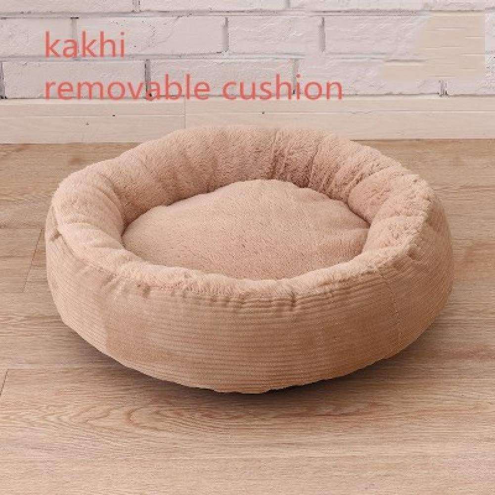 Kakhi removable mat 40x15cm CZHCFF Round Plush Dog Sofas Winter Dog House Kennel for Pug Little Bulldog with Detachable Pillow Cushion Pet Supplies