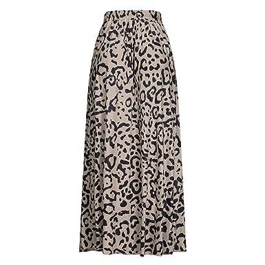 Falda Mujer Nuevo Verano Casual Estampado de Leopardo Largo Cordón ...