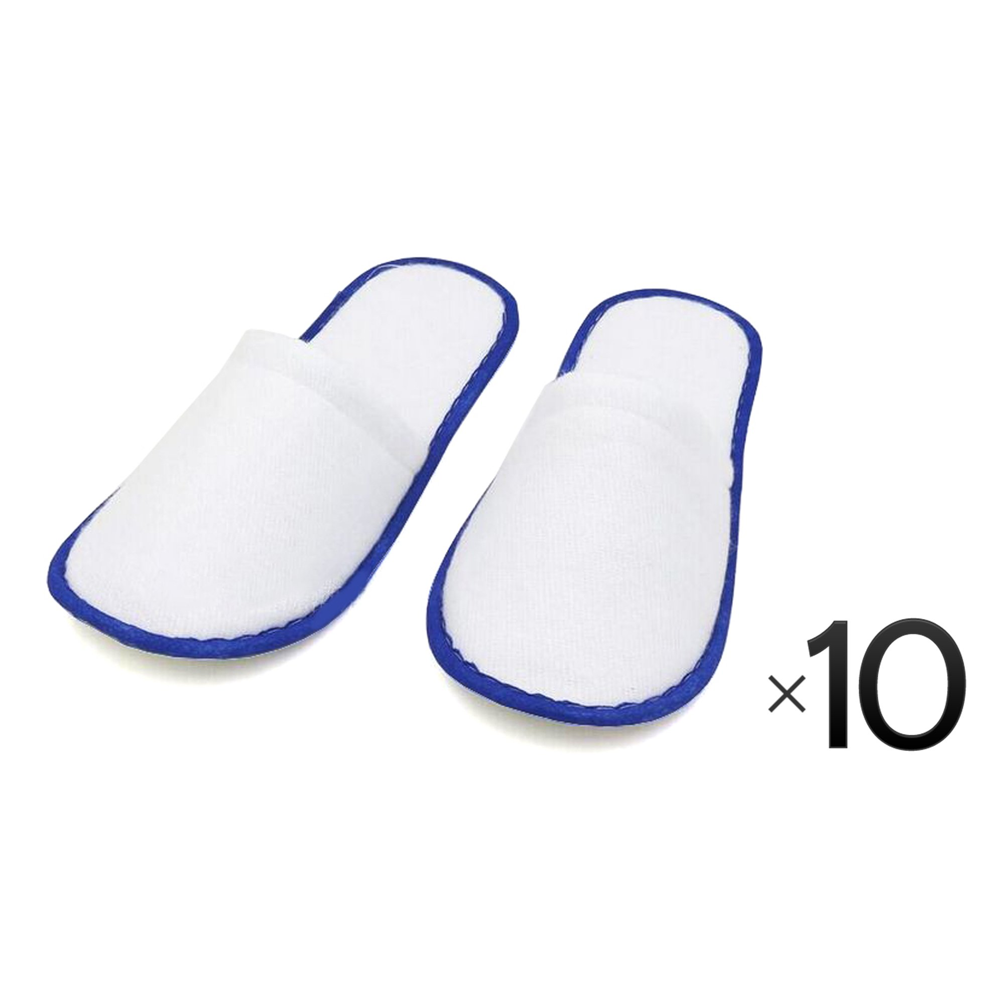 Disposable Cotton Slipper Slippers Salon Spa Hotel Pedicure Closed Toes 10 Pairs - Blue