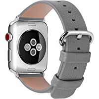 Fullmosa Compatible for iWatch Band 38mm 40mm 42mm 44mm Calf Leather Compatible Apple Watch Strap Bands Compatible Apple Watch Series4 Series 3 Series 2 Series 1, 38mm 40mm Grey