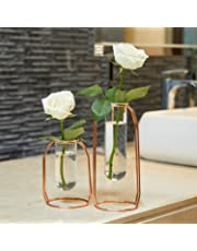 PuTwo Glass Flower Vases, Set of 2 Centrepiece Vases with Metal Stand Cylinder Clear Vases for Flowers Decoration for Living Room Bedroom Bathroom Kitchen Ideal Gift for Birthday Wedding - Rose Gold