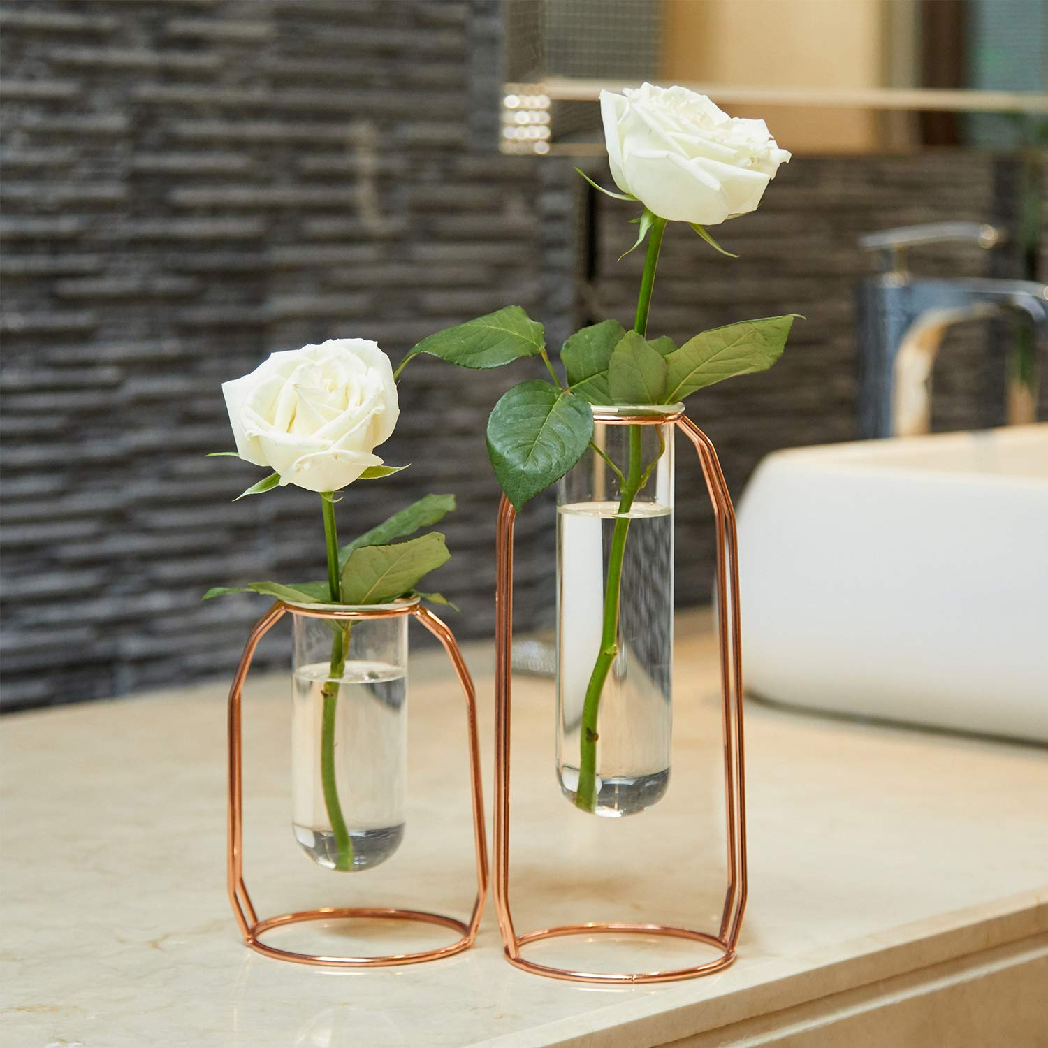 Amazon UK & PuTwo Glass Flower Vases Set of 2 Centrepiece Vases with Metal Stand Cylinder Clear Vases for Flowers Decoration for Living Room Bedroom Bathroom ...