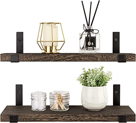 Mkono Floating Shelves Wood Wall Shelf Rustic Wall Mount Pine Shelf Set of 2 Home Decor Photo Display Ledges with Invisible Bracket for Living Room//Bedroom//Bathroom//Kitchen