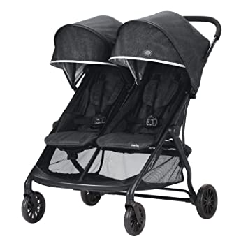 Evenflo Aero2 Ultra Lightweight Double Strollers Compact Self Standing Folding Design Shopping Basket