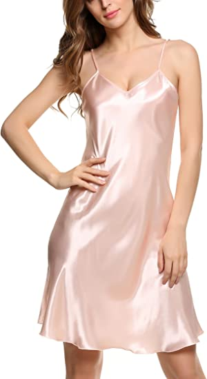 womens black and pink knee length Spaghetti straps nightgown nightdress
